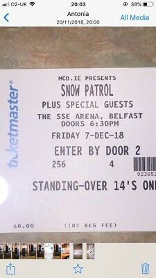 2 x standing snow patrol tickets friday 7th december SSE arena