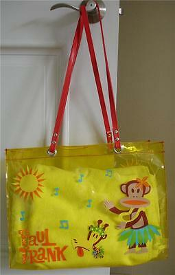 "2003 vintage PAUL FRANK JULIUS MONKEY vinyl TOTE beach BAG jelly 16"" x 12"""