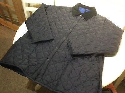 Barbour Men'S Liddesdale Quilted Navy Blue Jacket Size Extra Large Xl