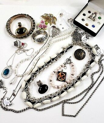 Lot Of Vintage To Now Jewelry Bracelets Earrings Pins Necklaces Some Sterling