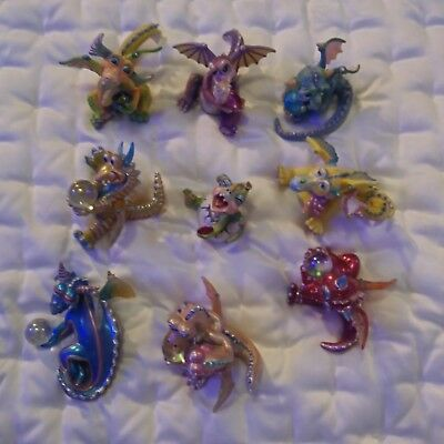 MOOD DRAGONS Franklin Mint Dragon Figurines Lot of 9 Collectibles