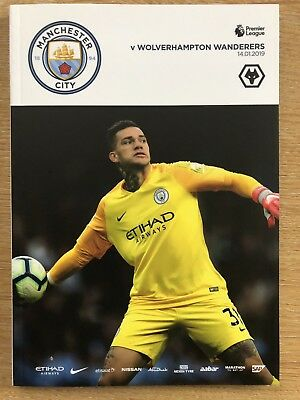 Manchester City v Wolverhampton Wanderers Official Matchday Programme 14/1/19