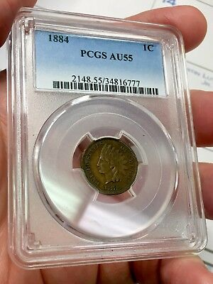 1884 1c Indian Head Cent - PCGS AU55