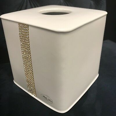 Bella Lux Bathroom Accessory White Crystal Rhinestone Kleneex Tissue Box ~New~