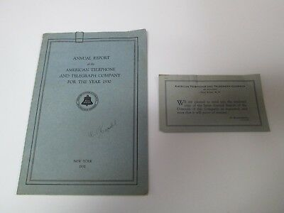 AT&T Vintage Memorabilia ANNUAL REPORT 1930 American Telephone And Telegraph Co