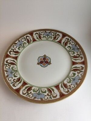 ANTIQUE HAND PAINTED NIPPON PORCELAIN PLATE With Raised GOLD Trim & Beading 11""