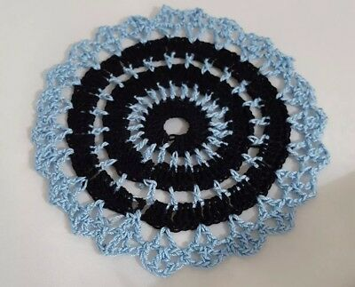 Black in Baby Blue  Bumblebee doily Approximately 5 Inches.