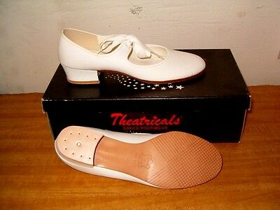 Kids 4.5 White Leather Sole Tie Tap Irish Dance Mary Jane Clog Shoes W/Out Taps