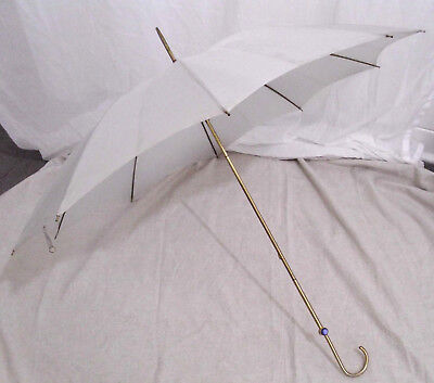 Vintage Umbrella Parasol Lady's Grey & Brass / Gilt 40s Macy's Made in Italy