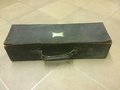 Rare Antique Leather Hawkes & Son London Musical Instrument Case Oboe Clarinet.