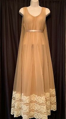 Vintage Intime Of California Full Sweep Double Chiffon Long Nightgown Size All