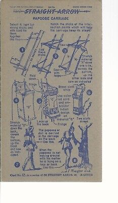 1950's Nabisco Straight Arrow  Collectors Cards Papoose Carriage Book 1 #12