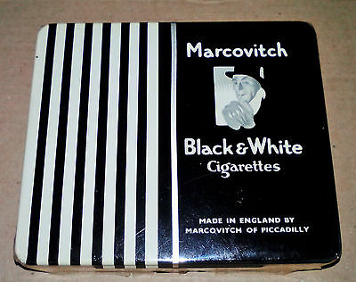 """1 Vintage Collectible Cigarette Tin Box - """"marcovitch B&w"""" -*sealed!*nos*- Empty"""