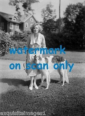 Vintage B & W Photo~Pretty Woman with Borzoi~Russian Wolfhound Dog~NEW NoteCards