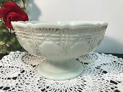 Rare Flint Glass Block and Fan Pattern Late 19c White Compote Bowl 1448