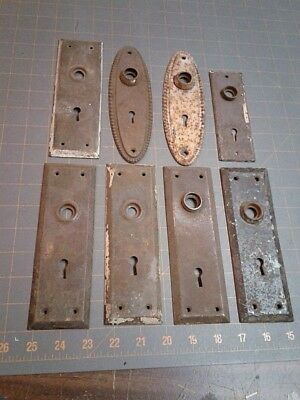 8 House Door Knob Back Plates Rectangles and Ovals Stamped Steel 1920s Era