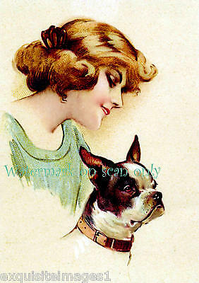 Vintage Art~Beautiful Woman with Boston Terrier Dog~NEW Large Note Cards