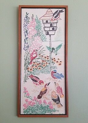 Antique Embroidery Of Birds In Wood Frame
