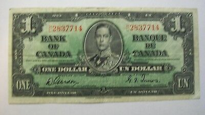 Bank of Canada One Dollar Bill 1937   Gordon - Towers
