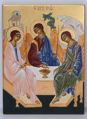 Orthodox Byzantine Icon of Holy Trinity Hand-Painted