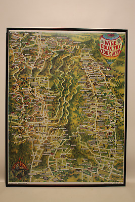 Vintage 1992 Framed Ron Morales Wine Country Tour Map Napa Valley Graphic Conce