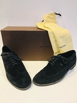 91d22076320f LOUIS VUITTON SHOES Black Damier Suede Loafers Mens Size Eu 8.5 Us ...