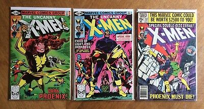 3 Comic Lot - X-Men 135 136 137 (Marvel, 1980) Dark Phoenix Saga