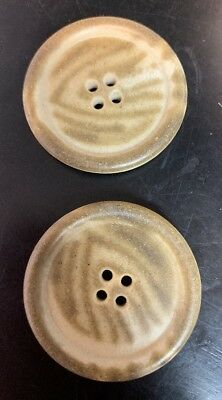 """Pair Vintage Vegetable Ivory Cream/Brown Stripe Buttons 4 Hole 1.5"""""""