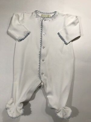 Pixie Lily White Footed Romper With Blue Trim Size 3-6 Months