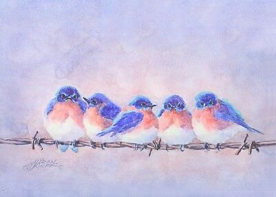 ACEO 5 BLUEBIRDS on a WIRE by Sharon Sharpe!!!