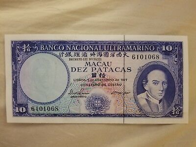 MACAU (P#49) 10 Patacas 1977 sign. Pinto / Cabral 7-digit serial #
