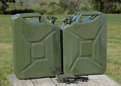 2-Wavian 20 Liter Authentic Fuel Jerry Can NATO SPEC. & one Spout FREE SHIPPING!