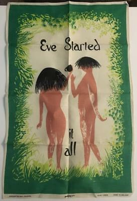 Vintage Pure Irish Linen Hand Towel Mint Eve Started It All Dunmoy
