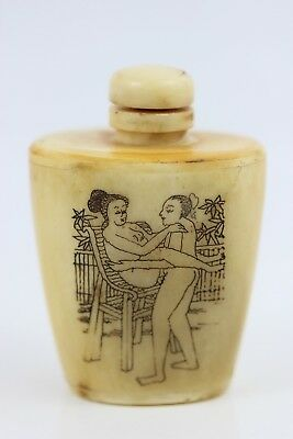 Antique Chinese Erotic Snuff Bottle & Top Hand Carved Figures, Bovine Bone 7.5cm