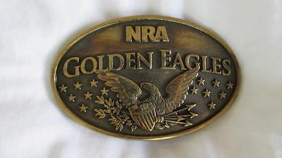 NRA Golden Eagles Gold Tone Brass Limited Edition Belt Buckle
