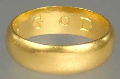 Antique 17th Century Stuart 22K Gold Posy Ring FEARE GOD Circa 1680 Size 8.5
