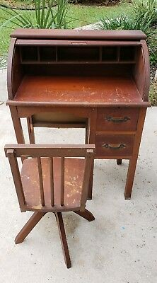 Antique Child's Roll top Desk w/ Matching Swivel Chair
