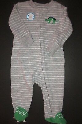NEW Carter's Baby Boys Size 6 Mo Gray Stripe Dinosaur One Piece Footed Sleeper