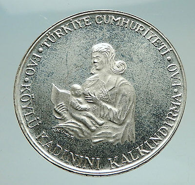 1980 TURKEY Breastfeeding Child w Crescent Antique Silver 500 Lira Coin i74756