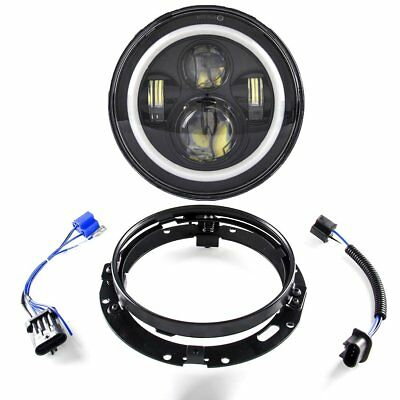 7 Inch Led Headlight With White DRL With Mounting Bracket Ring for Harley Road K