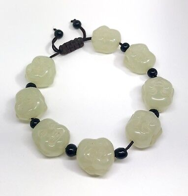 Vintage Chinese laughing Buddha head bead green jade bracelet good luck talisman