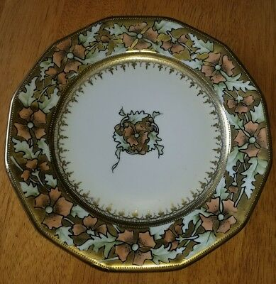 "Antique Nippon Maple Leaf Mark Hand Painted Plate Heavy Gold Trim 9.75"" EUC"