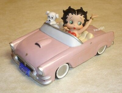 1997 San Francisco Music Box Company ~ Betty Boop and Pudgy in Pink Convertible