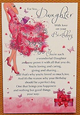 Daughter Birthday Card With Coloured Insert And Lovely Loving Sentimental Verse