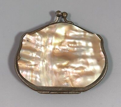 Antique French 19th Century mother of pearl coin change purse blue silk lining