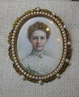 16K Gold Pendant Handpainted Portrait Miniature Antique 1905 Natural Pearls RARE