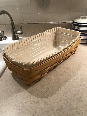 Longaberger Rectangular Bread Basket with Liner and Protector