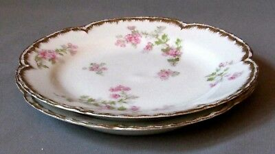 2 Haviland Bread & Butter Plates - Pink Wild Roses/Double Gold S29K