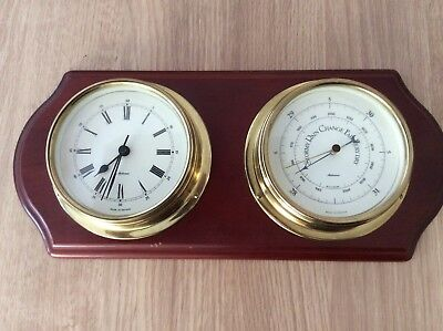 Ships Clock and Barometer. Metamec. Mounted on a wooden board. Decorative Piece