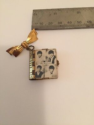 Original The Beatles 1960s Brooch Charm Pin Badge Fold Out Photo Book Metal Case